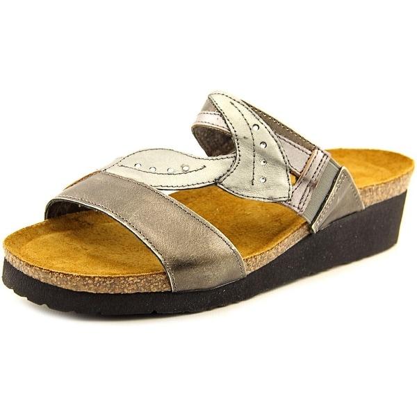 Naot Kimberly Women Open Toe Leather Gray Slides Sandal