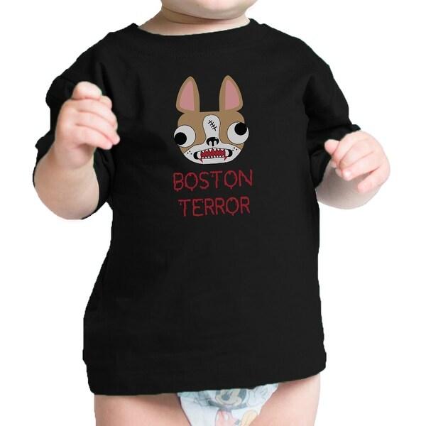 Boston Terror Terrier Cute Baby Black Tee Shirt Halloween Costume