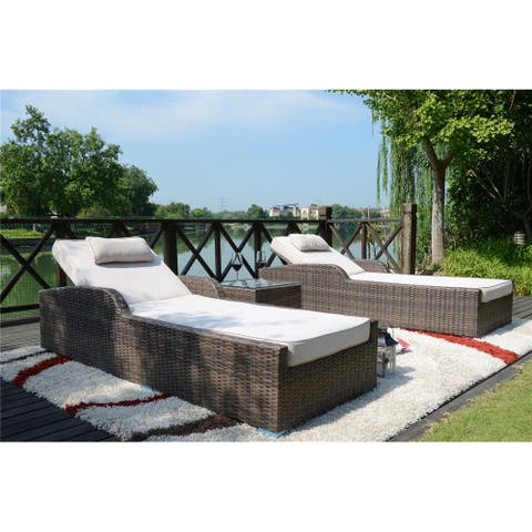 3 Pcs Outdoor Patio Rattan Wicker Furniture Pool Chaise Lounge Chair Set with Table And Cushons BY Dircet Wicker