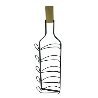 Wine Bottle Shaped 5 Bottle Hanging Wine Rack - 31.75 X 9 X 4.25 inches