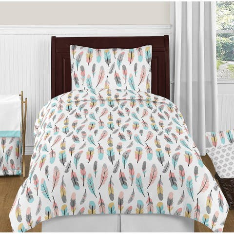 Boho Feather Collection Girl 4-piece Twin-size Comforter Set - Turquoise, Coral and Grey