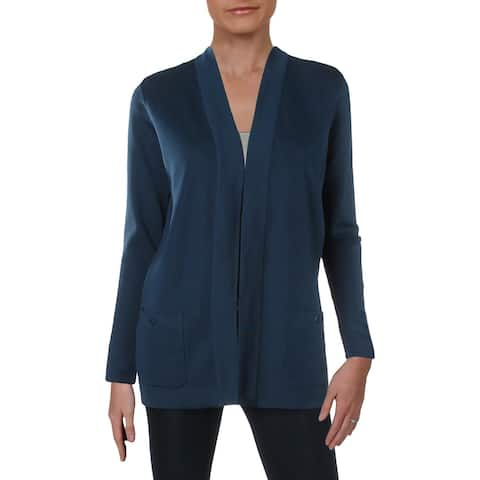 Anne Klein Womens Cardigan Top Ribbed Long Sleeves Blue S