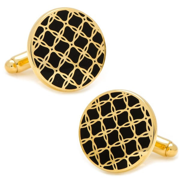 Gold and Black Filigree Cufflinks