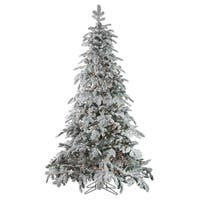 "7.5' x 58"" Pre-Lit Flocked Whistler Noble Fir Artificial Christmas Tree - Clear Lights - green"