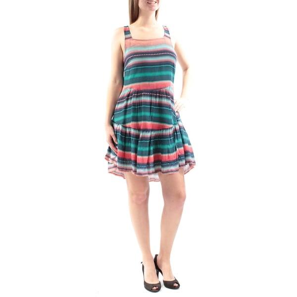 ROXY $44 Womens New 3439 Blue Coral Striped Sleeveless A-Line Dress M Junior B+B