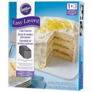 "Easy Layer Cake Pans 4/Pkg-Square 6""X6"" - square 6""x6"""