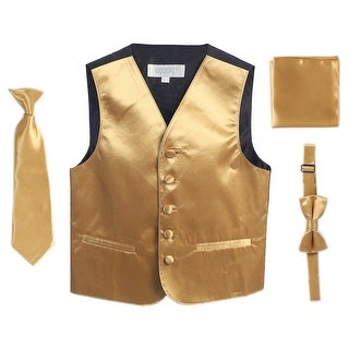 Gold Vest Necktie Bowtie Pocket Square Boys Set 8-14