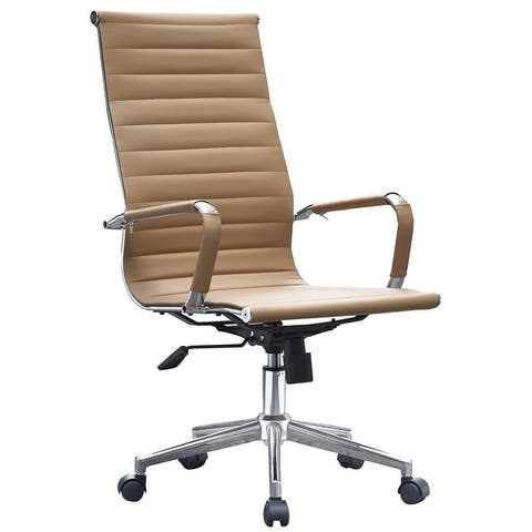 Executive Ergonomic High Back Modern Office Chair Ribbed PU Leather Swivel for Manager Conference Computer Room