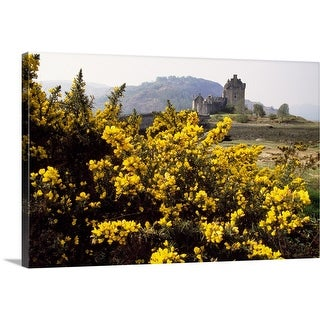 """Wildflowers in bloom, distant Eilean Donan Castle, Scotland."" Canvas Wall Art"