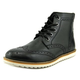Crevo Boardwalk Men Wingtip Toe Leather Black Boot