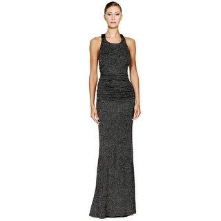 Calvin Klein Glitter Halter Open Back Evening Gown Dress - 14