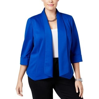 Kasper Womens Plus Casual Blazer Solid Open Front
