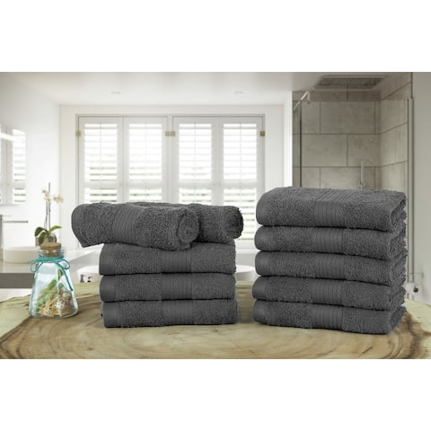 Ample Decor High Quality Ringspun Cotton -10 Pcs Washcloth - 12 x 12 Inch