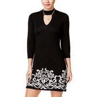 Sequin Hearts Womens Juniors Sweaterdress Mini Printed - S