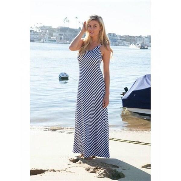 f2403a7b09944 1388-Navy-S-M Backless Striped Maxi Dress - Blue - M - Medium