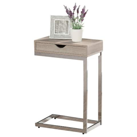 Offex OFX-284461-MO - Natural Reclaimed-Look / Chrome Metal Accent Table