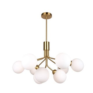 Link to 9-Light Iron Chandelier in Brass Finish with Frosted Glass Globes - 15.7 x 27.5 x 21.7 inches Similar Items in Pendant Lights