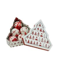 """6-Piece Red and White Decoupage Shatterproof Christmas Tree Ball Ornament Set 2.75"""""""