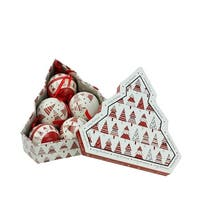 6-Piece Red and White Decoupage Shatterproof Christmas Tree Ball Ornament Set 2.75""
