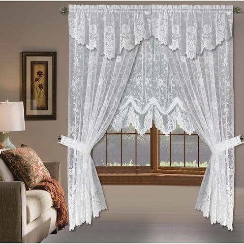 Grace Floral Lace Window Curtain Panels
