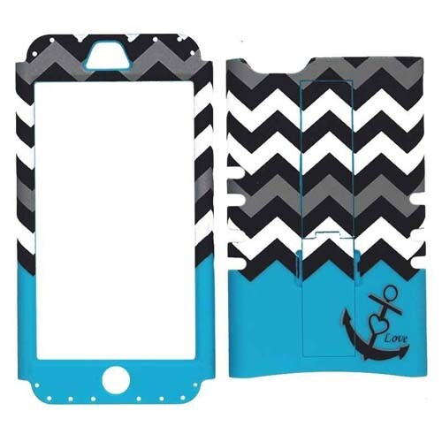 Unlimited Cellular Rocker Snap-On Case for Apple iPhone 5C (Black Anchor and Bla
