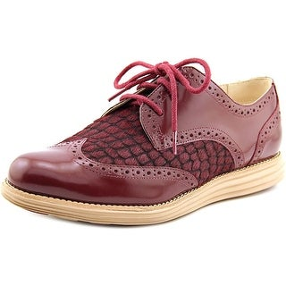 Cole Haan Lunargrand Wing Tip Women C Round Toe Leather Burgundy Oxford
