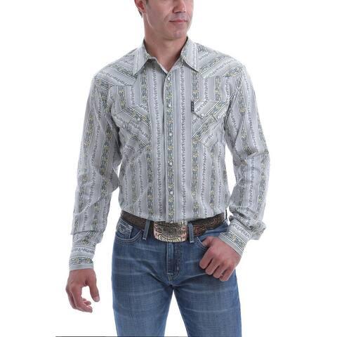 Cinch Western Shirt Men L/S Marble Snap Floral Stripe Print