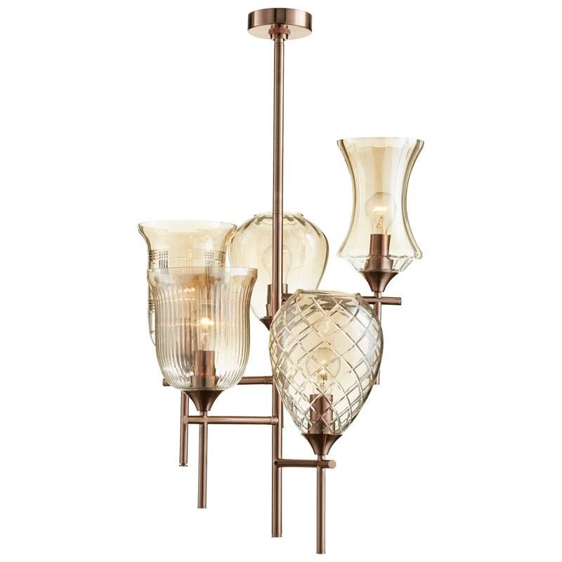 Cyan Design Darcey Five Light Chandelier Darcey 5 Light 1 Tier Chandelier Satin Copper Overstock 13201716