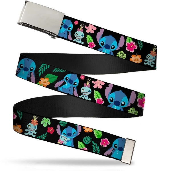 "Blank Chrome 1.0"" Buckle Stitch & Scrump Poses Tropical Flora2 Webbing Web Web Belt 1.0"" Wide - S"