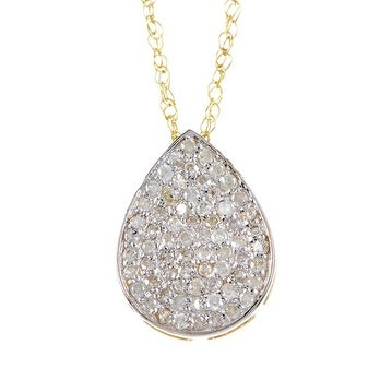 14k Gold White Diamond Pear Shape Pendant with Chain