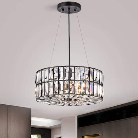 Justina 4-Light Antique Black Crystal Glass Prism Chandelier