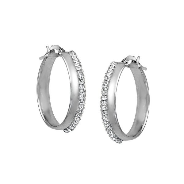 Polished Oval Hoop Earrings with Swarovski elements Crystal in Sterling Silver