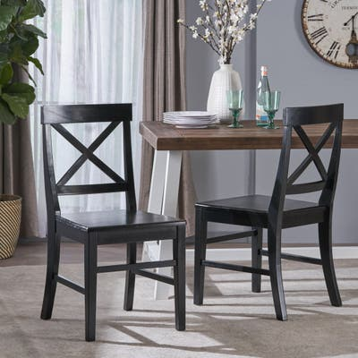 Roshan Farmhouse Acacia Dining Chairs (Set of 2) by Christopher Knight Home