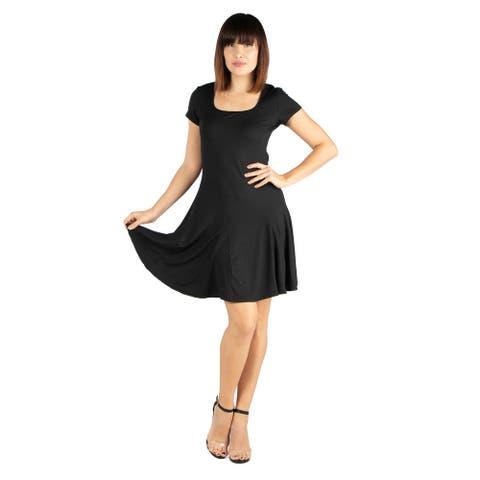24seven Comfort Apparel Knee Length Maternity T-Shirt Dress