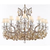 Chandelier With Golden Crystal & White Shades