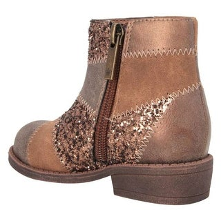 Nina Girls INES Leather Ankle Zipper Western Boots, Brown METALLIC, Size 5.0