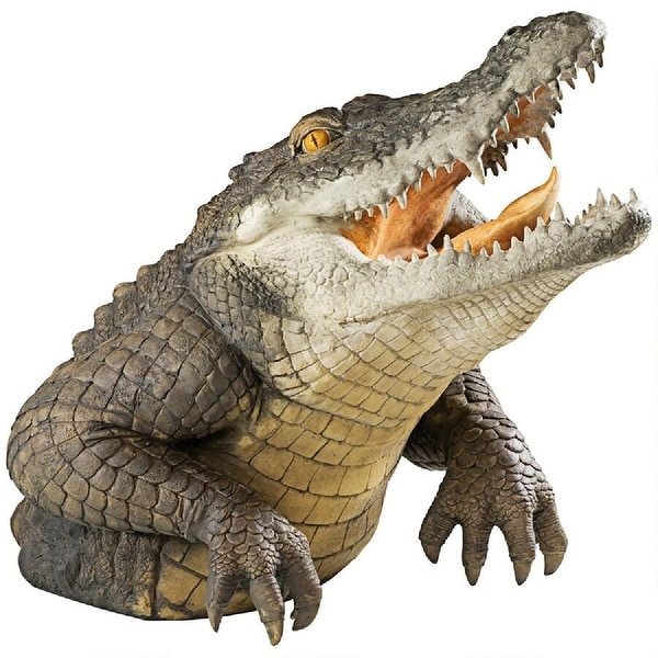 "19"" Leaping Alligator Outdoor Garden Statue - N/A"