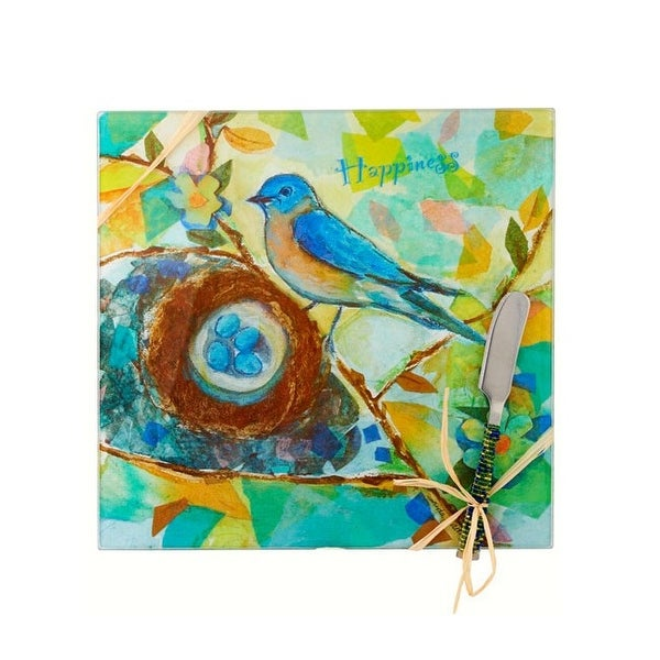 """9"""" Blue and Brown Bird Happiness Square Cheese Board - N/A"""