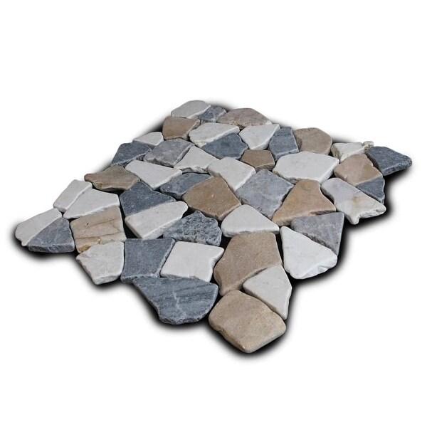 Miseno MT-R3RTWG Seamless Mosaic Natural Stone Tile (9.68 SF / Carton) - tan / white / gray blend - N/A