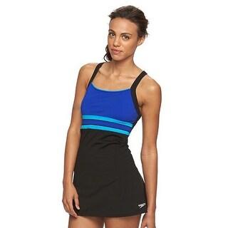 Speedo Women Colorblock One-Piece Swimdress Swimsuit Black/Blue 6