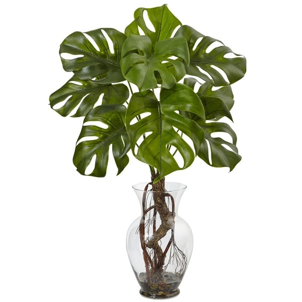 Nearly Natural Monstera Plant with Vase