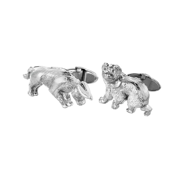 Dolan Bullock Sterling Silver Bull-&-Bear Cufflinks - White