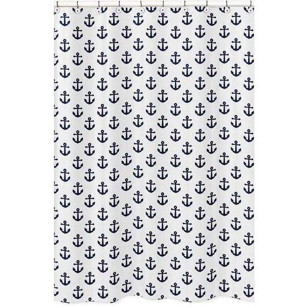 Navy Blue White Anchors Bathroom Fabric Bath Shower Curtain - Nautical Ocean Sailboat Sea Sailor Anchor Unisex Gender Neutral. Opens flyout.