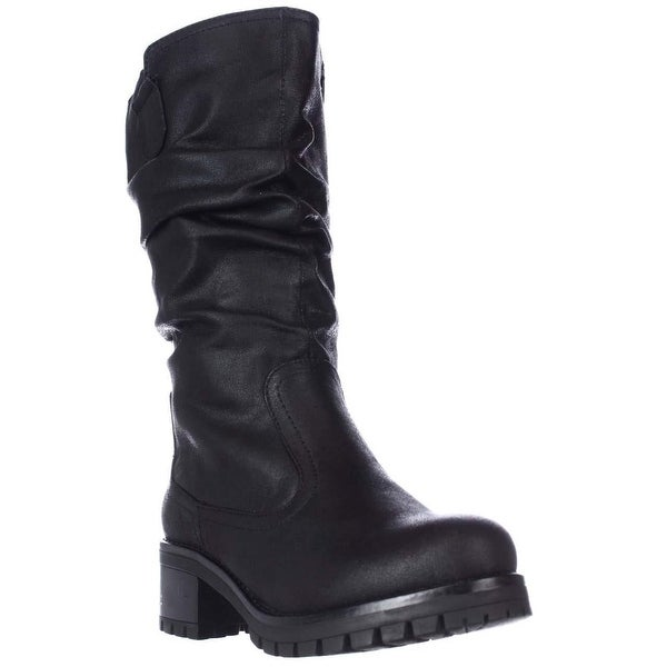 7 Dials Pickup Mid Calf Lug Sole Slouch Boots, Black
