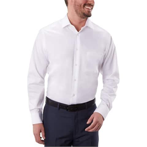"Geoffrey Beene Mens Non Iron Classic Button Up Dress Shirt, White, 18"" Neck 36""-37"" Sleeve"