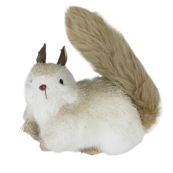 "7"" Gilded White Christmas with Gold Glitter Decorative Squirrel Table Top Figure"