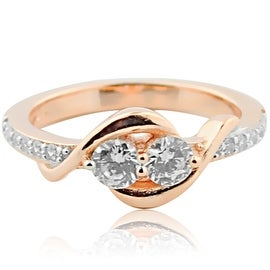 2 Stone Engagement Ring Rose Gold-Tone Silver With Cz 8mm Wide