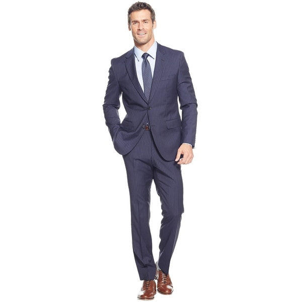 e298e6a1c Hugo Boss Mens Johnston/Lenon Regular Fit Wool Stripes Navy Suit 48R Pants  42W