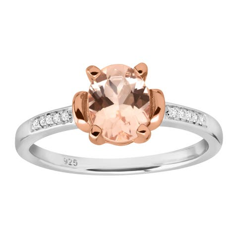 1 ct Oval-Cut Natural Morganite Ring With Diamonds in Sterling Silver - Pink