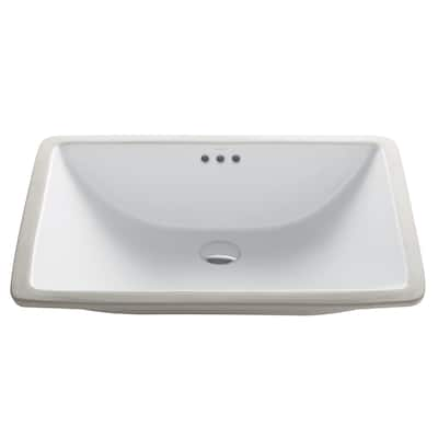 Kraus Elavo 23 in Rectangle Porcelain Ceramic Undermount Bathroom Sink